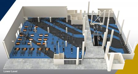 A rendering of the UC Davis ARC weight room.
