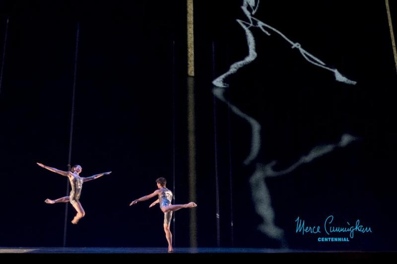 Dancers performing a Cunningham work.