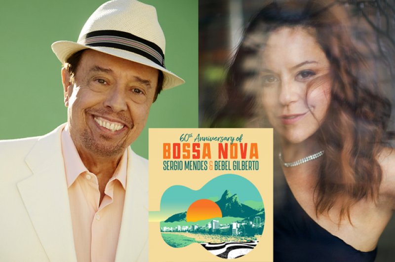 Side-by-side photos of Sergio Mendes and Bebel Gilberto